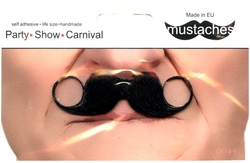 MOUSTACHES AND BEARDS -  CURLY MUSTACHE - SMALL - BLACK