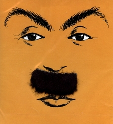 MOUSTACHES AND BEARDS -  MUSTACHE - STRAIGHT AND SHORT - BLACK