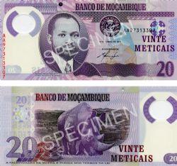 MOZAMBIQUE -  20 METICAIS 2011 (UNC)