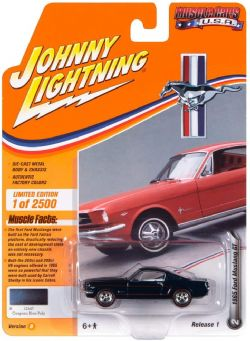 MUSCLE CARS U.S.A -  1965 FOR MUSTANG GT - BLUE -  JOHNNY LIGHTNING 2