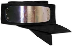 NARUTO -  HIDDEN LEAF VILLAGE METALLIC HEADBAND (KONOHAGAKURE NO SATO) - BLACK