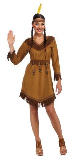 NATIVE AMERICAN -  NATIVE AMERICAN WOMAN COSTUME (ADULT - ONE SIZE)