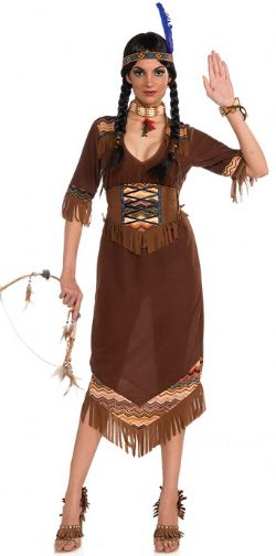 NATIVE AMERICAN -  PRINCESS LITTLE DEER COSTUME (ADULT) -  COMPREND: BANDEAU AVEC PLUME, CEINTURE-CORSET, ROBE.