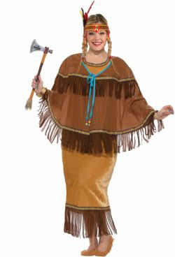 NATIVE AMERICAN -  PRINCESS TOMAHAWK COSTUME (ADULT - ONE SIZE UP TO 18-22)