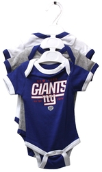 NEW YORK GIANTS -  3-SET CREEPERS - BLUE/GREY/WHITE (BABY)