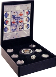 NHL ALL-STARS -  COMMEMORATIVE STAMPS AND MEDALLIONS SET -  2002 CANADIAN COINS