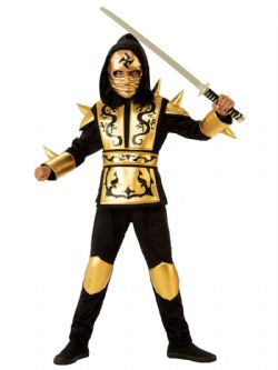 NINJA -  GOLD NINJA  COSTUME (CHILD)