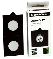 NUMIS -  25 2X2 BLACK COIN HOLDER SELF-ADHESIVE UP TO 25 MM DIAMETER