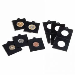 NUMIS -  25 2X2 BLACK COIN HOLDER SELF-ADHESIVE UP TO 37.5 MM DIAMETER