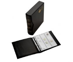 NUMIS ALBUMS -  DE LUXE NUMIS BLACK ALBUM AND SLIPCASE WITH 5 SHEETS FOR 143 COINS - MRC EDITION