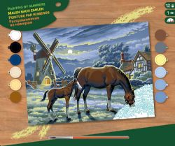 PAINT BY NUMBERS SENIOR - HORSES IN THE NIGHT