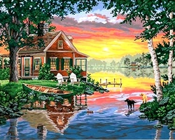 PAINT WORKS -  SUNSET CABIN (20