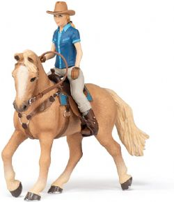 PAPO FIGURE -  WILD WEST HORSE AND COWGIRL -  HORSES, FOALS AND PONIES 51566