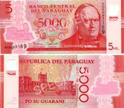 PARAGUAY -  5000 GUARANIES 2016 (UNC)