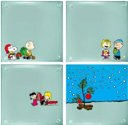 PEANUTS -  SET OF 4 GLASS COASTERS