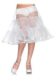 PETTICOAT -  PETTICOAT - WHITE - SHIMMER KNEE LENGTH - ONE SIZE