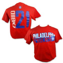 PHILADELPHIA 76ERS -  RED JOEL EMBIID #21 T-SHIRT