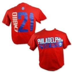 PHILADELPHIA 76ERS -  RED JOEL EMBIID #21 T-SHIRT