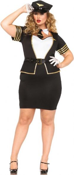 PILOT AND FLIGHT ATTENDANT -  MILE HIGH PILOT COSTUME (PLUS SIZE)