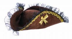 PIRATES -  WOMEN TRICORNER PIRATE HAT - BROWN