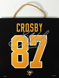 PITTSBURGH PENGUINS -  SIDNEY CROSBY #87 AUTOGRPAHED WOODEN PLAQUE (10