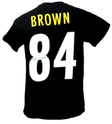 PITTSBURGH STEELERS -  ANTONIO BROWN #84 T-SHIRT - BLACK