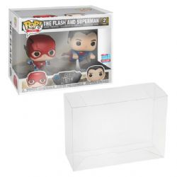 PLASTIC PROTECTOR -  FUNKO POP 2 PACK FLASH AND SUPERMAN PET PROTECTOR 0.40MM