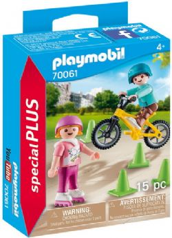 PLAYMOBIL -  CHILDREN WITH SKATES AND BIKE (15 PIECES) 70061