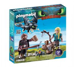 PLAYMOBIL -  HICCUP AND ASTRID WITH BABY DRAGON (21 PIECES) 70040
