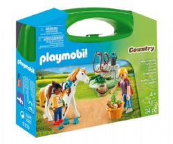 PLAYMOBIL -  HORSE GROOMING CARRY CASE (34 PIECES) 9100