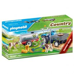 PLAYMOBIL -  LOADING TRACTOR WITH WATER TANK (40 PIECES) 70367