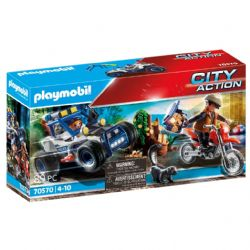 PLAYMOBIL -  POLICEMAN WITH CART AND THIEF ON MOTORCYCLE (89 PIECES) 70570