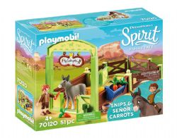 PLAYMOBIL -  SNIPS & SEÑOR CARROTS WITH HORSE STALL (51 PIECES) 70120