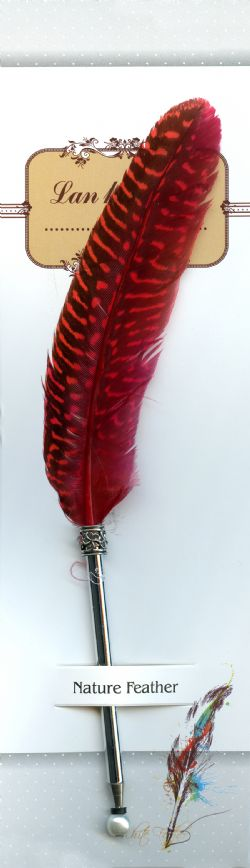 PLUME -  WRITING FEATHER WITH PEN TIP (DARK RED)
