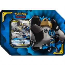 POKEMON -  TAG TEAM LUCARIO & MELMETAL GX TIN (4 PACKS + ACCESORIES) -  POWER PARTNERSHIP