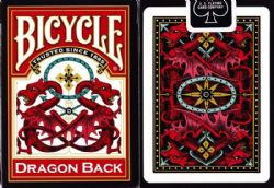 POKER SIZE PLAYING CARDS -  DRAGON BACK - RED