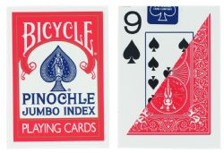 POKER SIZE PLAYING CARDS -  RED PINOCHLE JUMBO INDEX