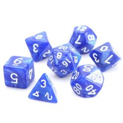 POLY RPG DICE SET -  BLUE SWIRL WITH WHITE -  DIE HARD