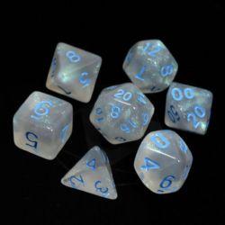 POLY RPG DICE SET -  GLACIAL MOONSTONE WITH BLUE -  DIE HARD
