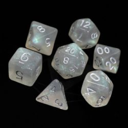 POLY RPG DICE SET -  GLACIAL MOONSTONE WITH SILVER