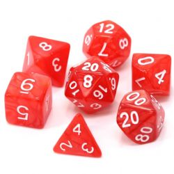 POLY RPG DICE SET -  RED SWIRL WITH WHITE -  DIE HARD