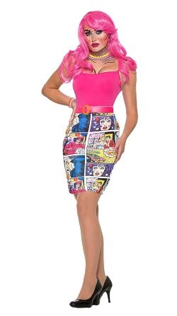 POP ART -  COMIC PRINTED SKIRT - ONE SIZE