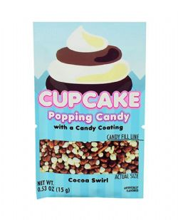 POPPING CANDY -  CUPCAKE POPPING CANDY WITH A CANDY COATING - COCOA SWIRL