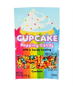 POPPING CANDY -  CUPCAKE POPPING CANDY WITH A CANDY COATING - CONFETTI