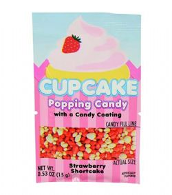 POPPING CANDY -  CUPCAKE POPPING CANDY WITH A CANDY COATING - STRAWBERRY SHORTCAKE