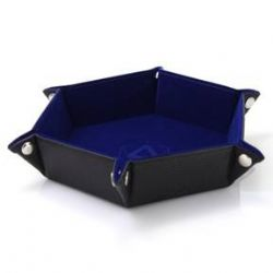 PORTABLE DICE TRAY -  FOLDING HEX TRAY - BLUE VELVET -  DIE HARD