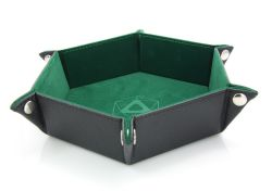PORTABLE DICE TRAY -  FOLDING HEX TRAY - GREEN VELVET -  DIE HARD