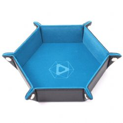 PORTABLE DICE TRAY -  FOLDING HEX TRAY - TEAL VELVET -  DIE HARD