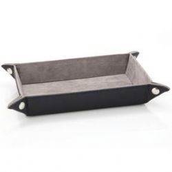 PORTABLE DICE TRAY -  FOLDING RECTANGLE TRAY - GREY VELVET -  DIE HARD