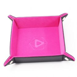 PORTABLE DICE TRAY -  FOLDING SQUARE TRAY - PINK VELVET -  DIE HARD
